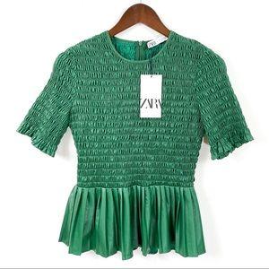 Zara Green Shirring Short Sleeve Top